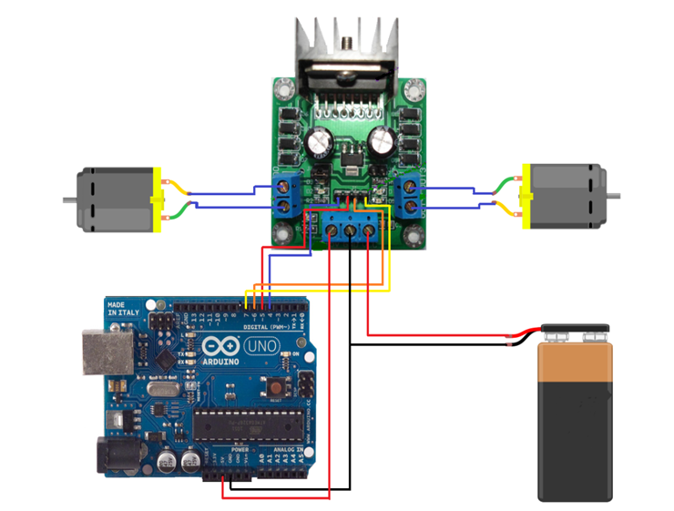 Connections of L298N with Arduino